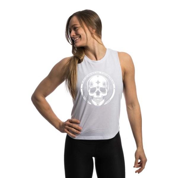 Northern Spirit Muscle Tank Dam S White with White Skull