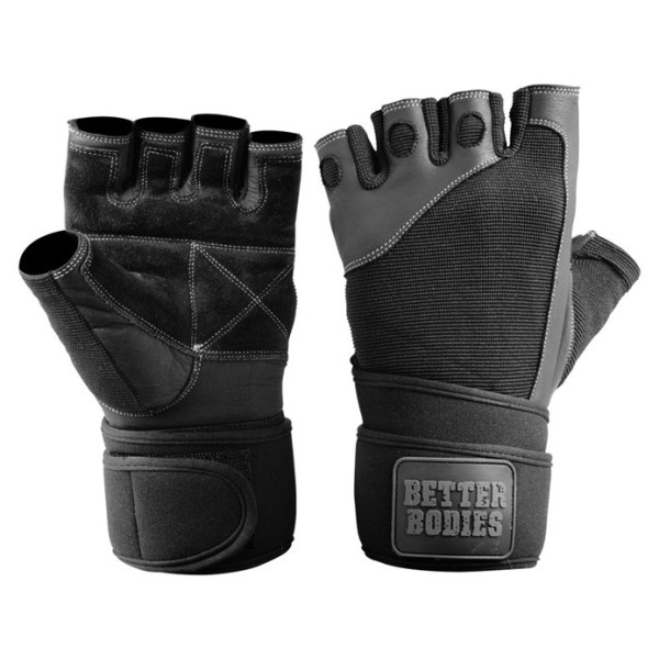 Better Bodies Pro Wrist Wrap Gloves  Black